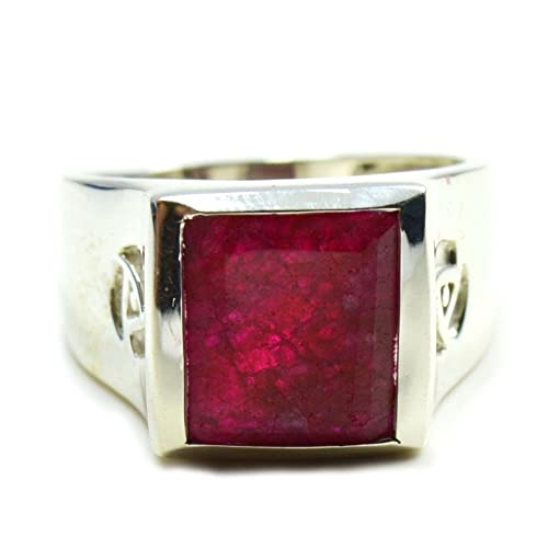 CLASSY STAR SHAPE RUBY 925 STERLING SILVER RING SIZE 5-10
