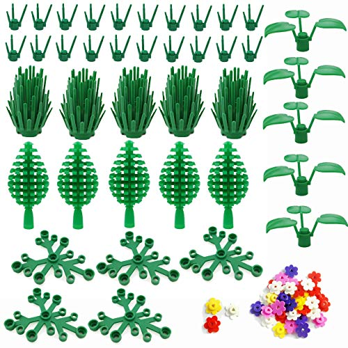 SPRITE WORLD Block Parts Compatible for Major Brand Garden Flower Tree Plant Set Building Toy Trees Plants Flowers