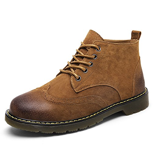 Boots Men's Leather Brown Casual SUNROLAN Fashion Suede up Ankle Lace Boot Shoes Chukka Winter S1twqT