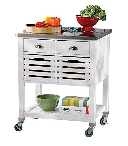 Linon AMZN0267 Hudson White Kitchen Cart, by Linon (Image #1)