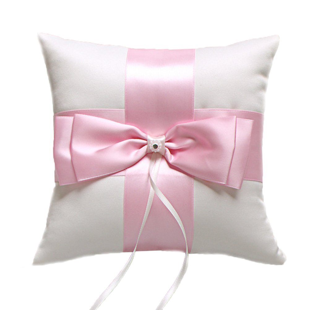 Amazon.com: BessWedding Wedding Ring Bearer Pillow Cushion with Pink ...