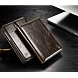 SGC 100% Original CaseMe Luxury Genuine Leather Magnetic Wallet Card Slot Flip Flap Cover Case With Stand For Blackberry Passport Silver Edition - Brown