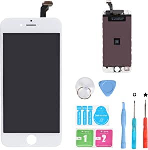 HSX_Z Screen Replacement for iPhone 6 White 3D Touch Screen LCD Digitizer Replacement Frame Display Assembly Set with Repair Tool Kits