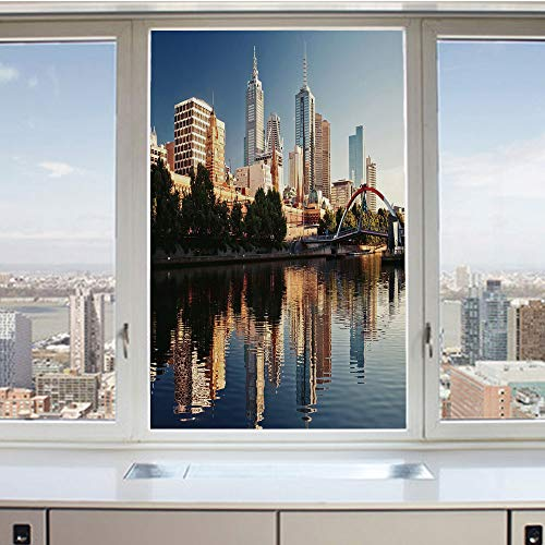 3D Decorative Privacy Window Films,Idyllic View of Yarra River Melbourne Australia Architecture Tourism,No-Glue Self Static Cling Glass Film for Home Bedroom Bathroom Kitchen Office 24x36 Inch