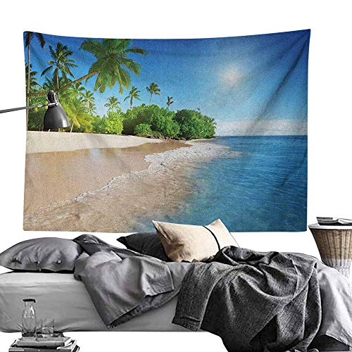 - Home Wall Hanging Nature Art Polyester Tapestry Ocean Tropical Palm Trees on Sunny Island Beach Scene Panoramic View Picture Blue Green and White Light-Weight Polyester Wall Fabric Home Decor60 x80
