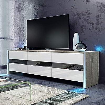 Selsey INCHEL - Mueble TV Moderno/Mesa para TV con LED/Mueble para Salón Comedor (Marrón Claro/Blanco Brillante): Amazon.es: Electrónica