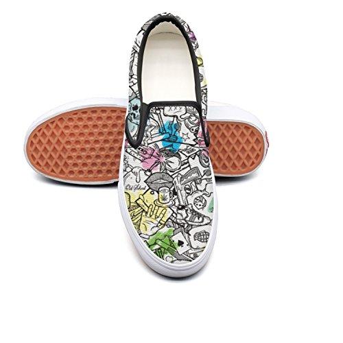 Dolorexri Candy-Skulls Womens Canvas Slip-on Fashion Sneaker Skate Shoe ()