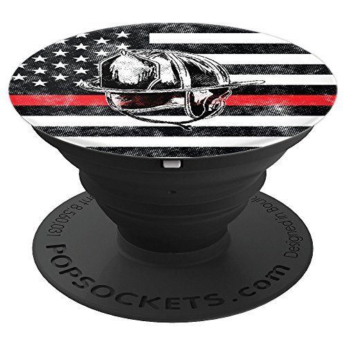 The Thin Red Line Firefighter Flag Fire Department Helmet - PopSockets Grip and Stand for Phones and -