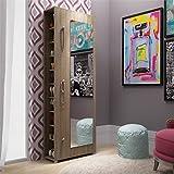 Manhattan Comfort Valencia 10 Shelf Shoe Closet with Mirror in Oak