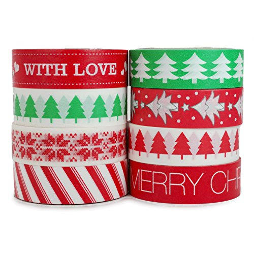 Crafty Rabbit Christmas II Washi Tape - Set of 8 Rolls - 262 Feet Total - Red, Green (Christmas Merry Duck)