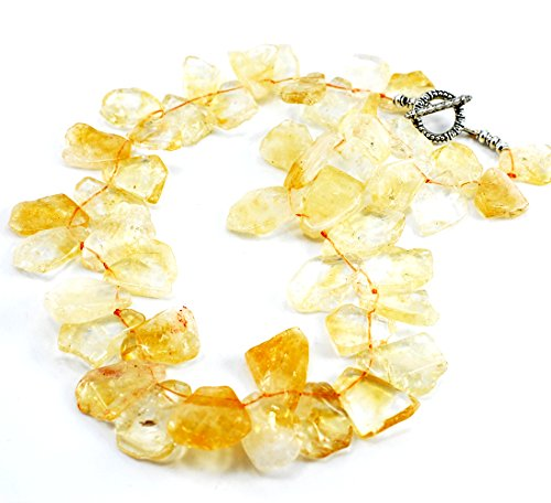 (Golden Citrine Nugget Beads Silver Tone Necklace 18