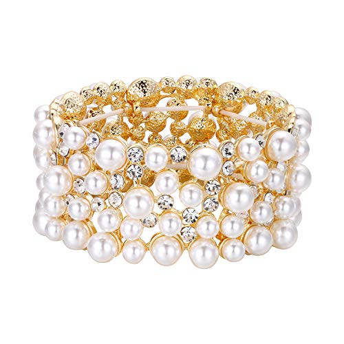 EVER FAITH Women's Crystal Simulated Pearl Stunning Bride Wedding Stretch Bracelet Clear Gold-Tone ()
