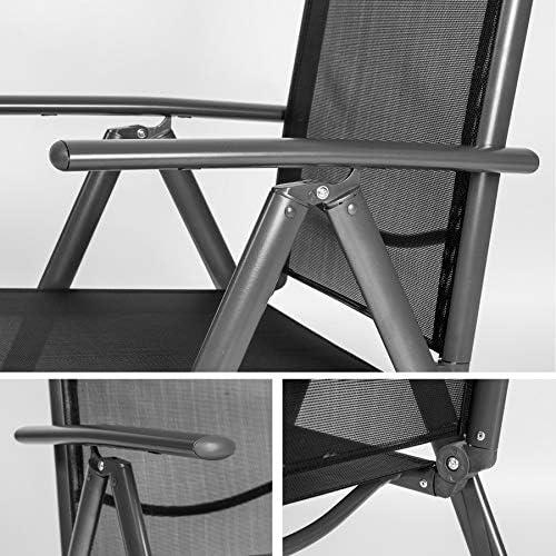 TecTake Lot de aluminium chaises de jardin pliante avec accoudoir diverses couleurs et quantités au choix (Anthracite | 2 chaises | no. 401633)
