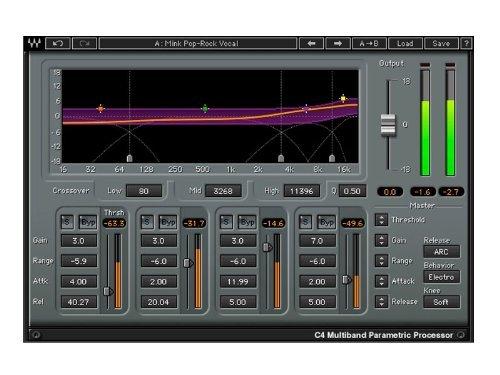 Waves C4 Multiband Compressor   4 Parametric Band Compressor Plugin Software Download Only