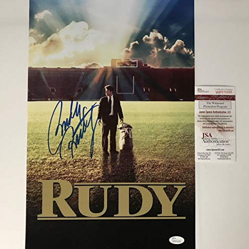 Autographed/Signed Rudy Ruettiger Notre Dame Irish 11x17 Movie Poster College Football Photo JSA COA