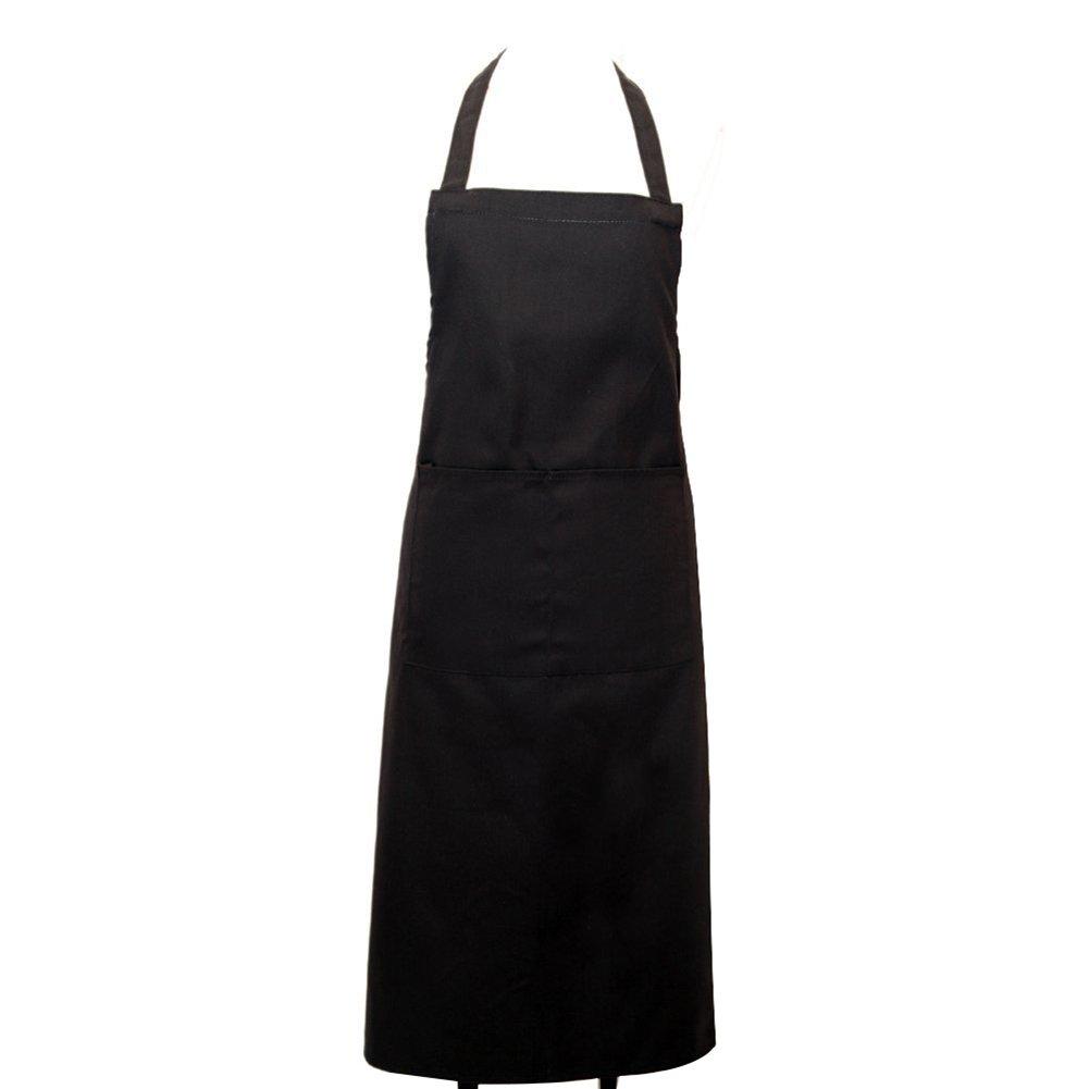 NiceButy Tablier réglable imperméable à l'eau, avec Deux Poches, Un Tablier de Cuisine Femme Chef, Noir Produits ménagers Noir Produits ménagers