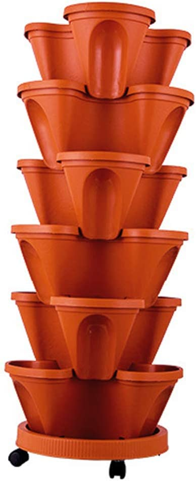 Aquarius CiCi 6 Tier Stacking Flower Pot Tower Stackable Vertical Plastic Garden Planter Vegetable Flower Strawberry Planter Pot Grow Fresh Herbs Indoor Outdoor(Brick Red)