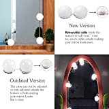 Vanity Lights,12 Hollywood Style Bulbs,7000K Dimmable Daylight White,17FT/5.2M Hidden Adjustable Length LED Mirror Light for Makeup Dressing Table (Mirror Not Included)