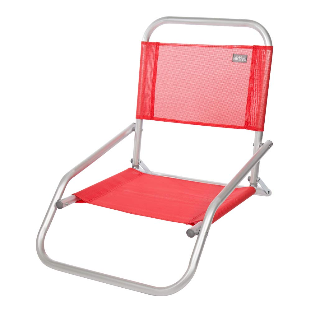 AKTIVE 53969 Silla Plegable Fija Aluminio Beach, 66 x 47 x 54 cm, Rojo