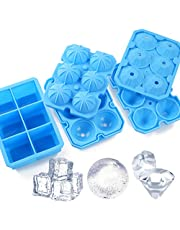 Ice Cube Trays, meidong 3 Pack Food-Grade Silicone Ice Cube Trays Round Big Ice Balls Square Diamond Ice Cube Molds, Reusable and BPA Free Easy Release Reusable for Chilling Whiskey Wine Cocktail