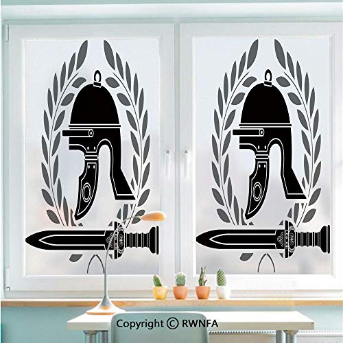 Window Film Door Sticker Roman Helmet with Sword and Olive Branches Ancient Mediterranean Empire Icons Decorative Glass Film Both Suitable for Home and Office,22.8 x 35.4inch,Black White