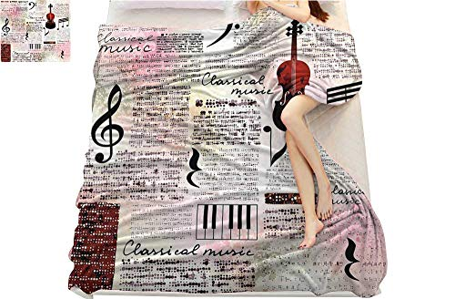 Tapesly Old Newspaper Decor, Digital Printing Blanket, Classical Music Theme Instruments Piano Violin Notes Symbols, Digital Printing Blanket, (W50 x L60 Inch Ruby Light Pink Black