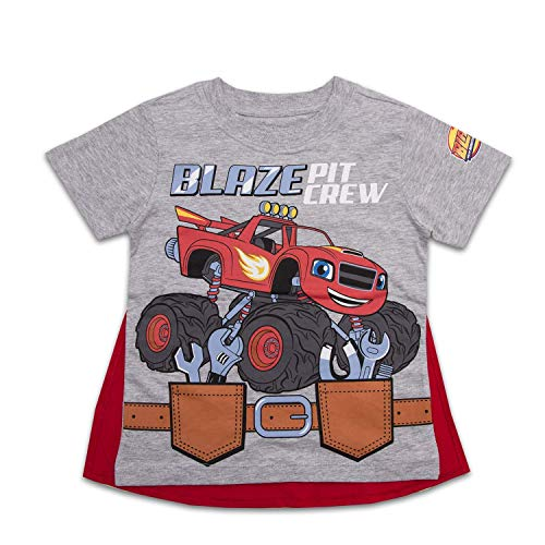 Nickelodeon Toddler Boys Blaze Cape Shirt Blaze and The Monster Machines Pit Crew Cape Tee (Grey, 4T) (Blaze And The Monster Machines Full Episodes)