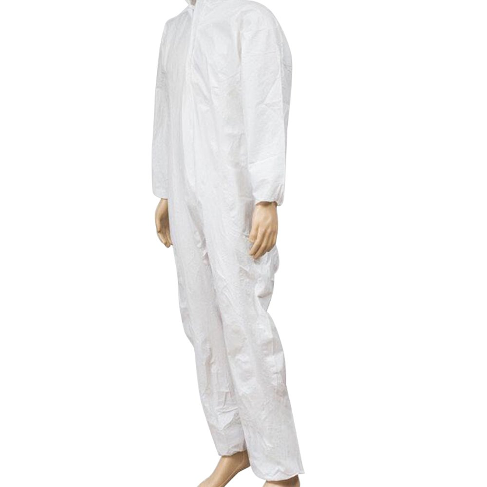 Zinnor Disposable Hooded Coveralls Chemical Protective Suits, Elastic Cuffs, Front Zipper Closure ,Serged Seams for Spray Painting Surgical Industrial (Large, White) by Zinnor (Image #2)