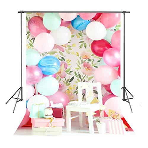 FUERMOR 5x7ft Balloons Photography Backdrop Birthday Photo Shooting Props XCFU404 (Balloons Same Send Day)