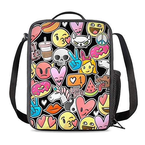 6842848ddb6e PrelerDIY Emoji Lunch Box Insulated Meal Bag Lunch Bag Food Container for  Boys Girls School Travel Picnic Outdoor