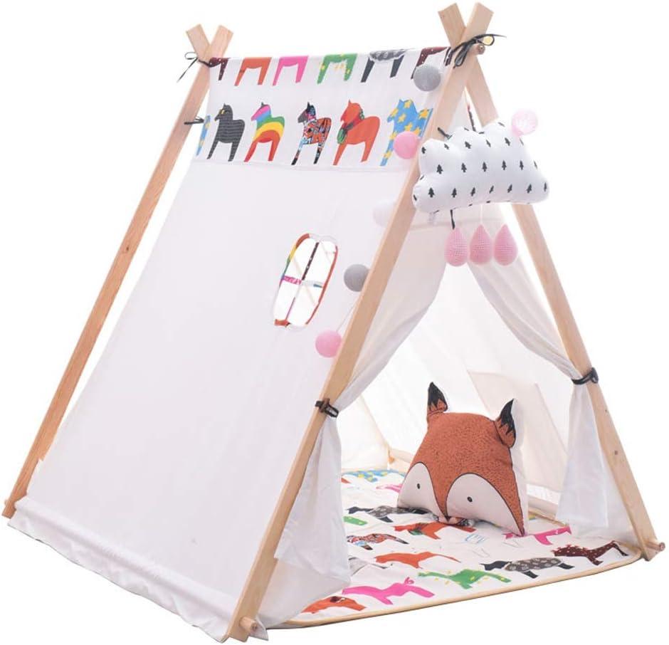 Kibten Caballo portátil Modelo de juego de niños Tienda de campaña Lona de algodón duradera Niños Tienda de indumentaria india Pino grande Casa de juego de madera Regalo de cumpleaños Presente for niñ