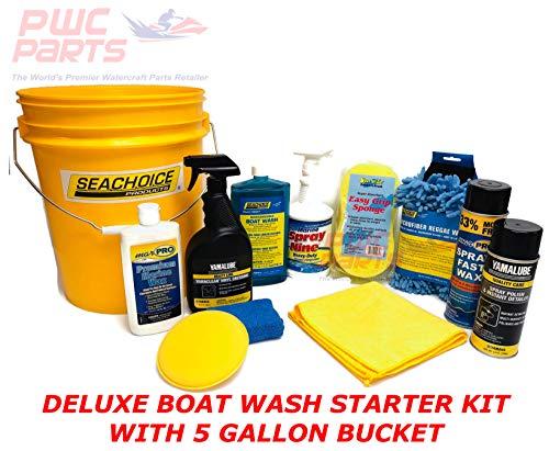 SENECA Marine Deluxe Boat Wash Cleaning Detailing Washing Maintenance Starter Kit w Bucket, Premium Marine Wax, Applicator Pads, Vinyl Dressing, Sponge, Microfiber Mitt, Spray Polish