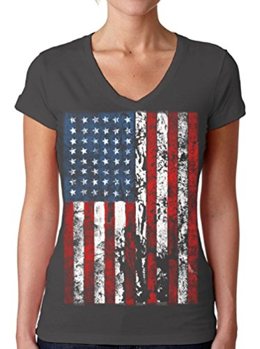 Awkwardstyles Women's American Flag Distressed V-Neck Tshirt 4th July + Bookmark L Charcoal (July Womens V-neck T-shirt)