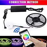 sanwo WiFi Wireless Smart Phone Control Light Strip Kit(WiFi Controller +Light Strip + Power + Manual), 32.8ft 600LEDS 5050RGB Waterproof IP65 LED Lights, Support for Android 、IOS and Alexa