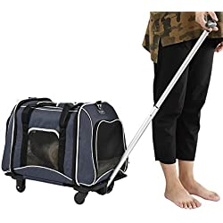 Petsfit Pet Carrier Stroller, Foldable Carrier with Removable Wheels, Strolling Cart for Dogs/Cats
