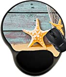 MSD Mousepad Wrist Protected Mouse Pads/Mat with Wrist Support Design 27128768 Nautical Background with Starfish and a Fishing net Against Rustic Weathered Blue Wooden Planks Above Golden Beach Sand
