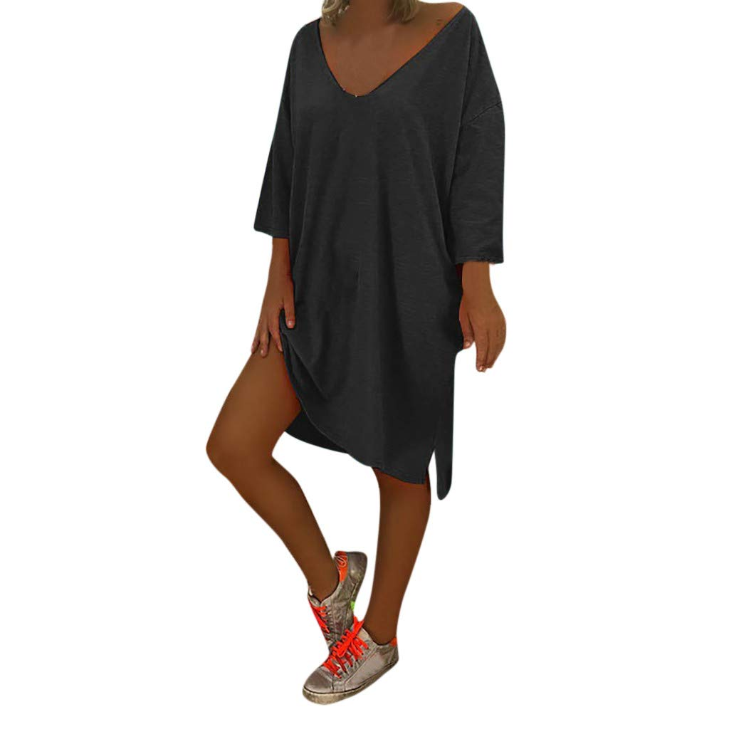 Zaidern Women Dress Women's Sexy V Neck Feminino Vesti Caftan Boho Beach Cover Plus Size Ladies Baggy Dresses Sundress Black