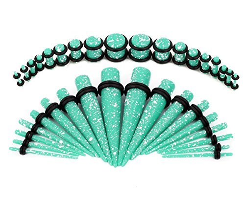 Taper Kit 36 Pieces Spots Aqua Acrylic Tapers and Plugs O-Ring 14G-00G Taper Stretching Kit - 18 Pairs - Stretching Taper Plug