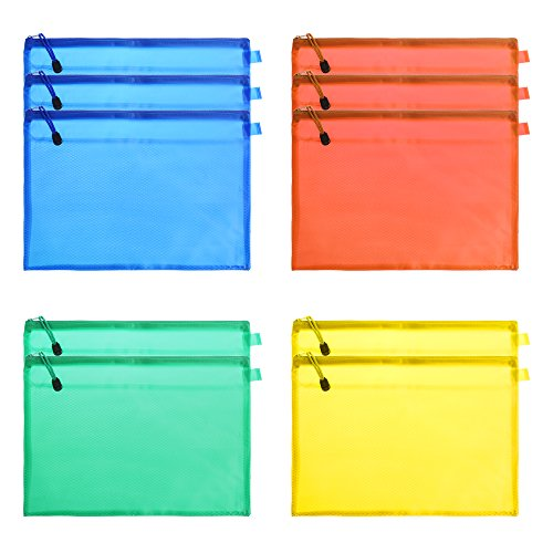 BCP 10 PCS A4 Size Random Color Zipper Double Layer Zippered Mesh Office Stationery Paper Document File Storage Bags Punches Organizers Holders (Doc Holder)