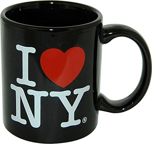 I Love New York Colorful Mugs- 11 oz Double Sided I Love NY Mugs in Colors Yellow, Pink, Orange, Blue, Purple, Black and White Souvenirs]()