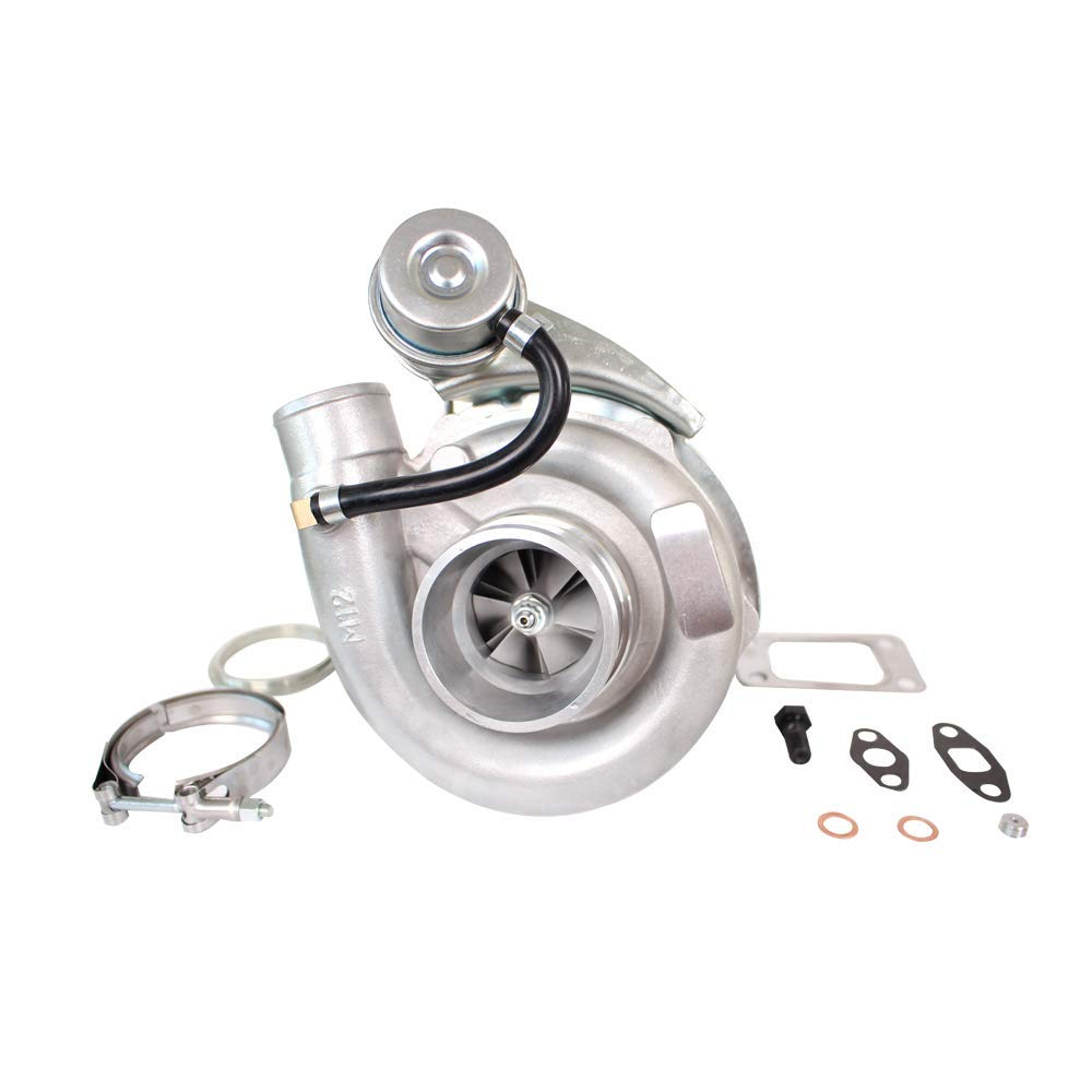 Hybrid T3/T4 T04E Turbo .63 A/R V-BAND Turbocharger 4 Bolt Up to 420HP for All 2.0-3.5L Engines Oil Cooled Universal Internal Wastegate Turbo Charger & Gaskets