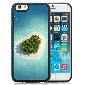 NEW Unique Custom Designed iPhone 6 4.7 Inch TPU Phone Case With Heart Shaped Tropical Island_Black Phone Case
