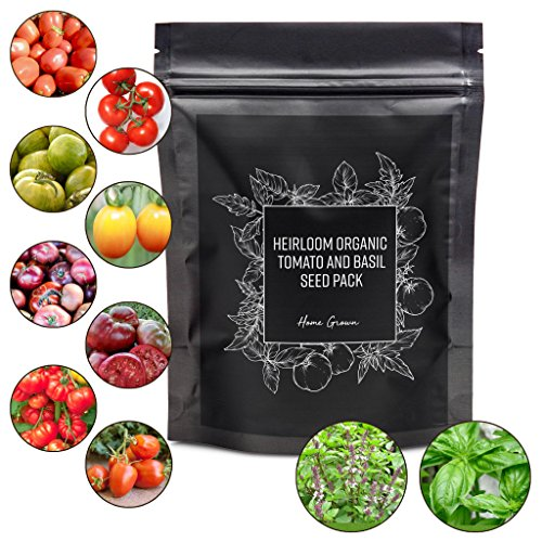 Heirloom Tomato Seeds and Basil Herb Pack, 8 Tomato 2 Basil Seeds Variety,  Non GMO and Organic, 10 Plant Markers and Instructions Included (Indeterminate Tomato Plants)
