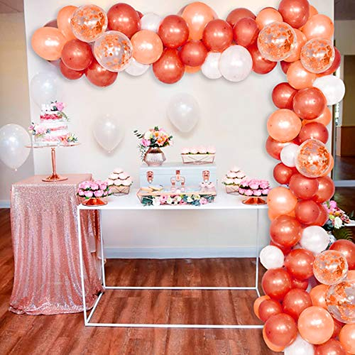 Birthday Party Balloon Garland Kit - 90 Latex Balloons Gold, Brown, White, Confetti Balloon, Balloons Garland Strip, Balloon Glue for Balloon Arch Kit, Wedding Party, Baby Shower, Graduation Party.