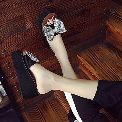 silvery para con Alto Zapatillas y Tacón y Sandalias Verano Zapatillas Mayor Comodidad de Ow7gx6AqT