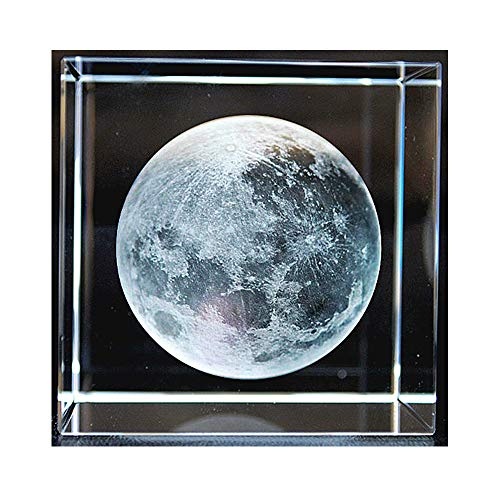 (JINGz 3D Moon Paperweight(Laser Etched) in Crystal Glass Cube Astronomy Enthusiast Birthday Gifts (2.4x2.4x2.4 in) (Moon))