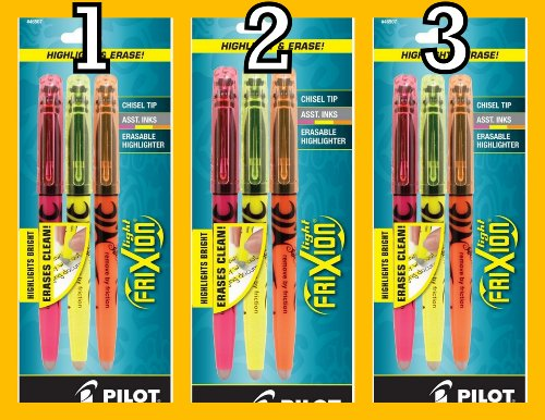 Value Pack of 3 sets Pilot FriXion Light Erasable Highlighters, Chisel Point, 3-Pack, Assorted Colors, Yellow/Pink/Orange (46507) 9 total highlighters