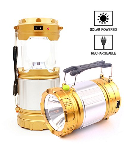 AGARE Ultra Bright Portable Outdoor LED Camping Lantern Solar Lamp Handheld Flashlights Collapsible,Multi Purpose (Gold,Collapsible) Gold Hurricane Lamp