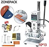ZONEPACK 1013cm Digital Embossing Machine Hot Foil Stamping Machine Manual Tipper Stamper Heat Press Machine for PVC Leather Pu and Paper Stamping with Paper Holder and Scale