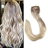 Full Shine 20inch Nordic Balayage Remy Clip Hair Human Color #18 Fading to #22 and Color #60 Platinum Blonde Clip in Ombre Hair Extensions Human Hair Straight Clip in Extensions 9 Pcs 120 Gram